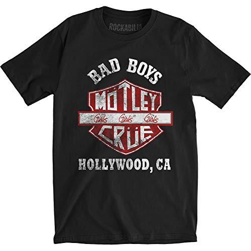 Motley Crue T-Shirt Bad Boys Shield da Uomo in Nero