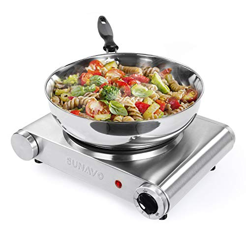 SUNAVO Hot Plate for Cooking Portable Electric Single Burner 1500W 5 Power Levels Cast-Iron Stainless Steel Silver