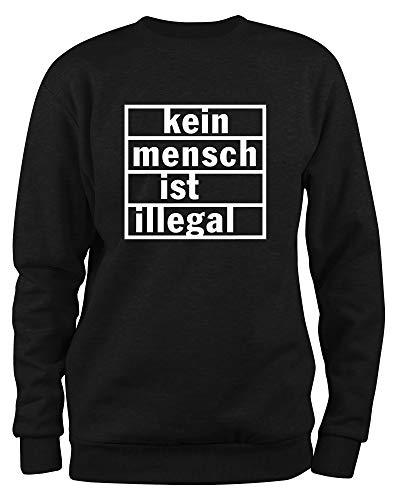 Styletex23 Sweatshirt Kein Mensch ist illegal, schwarz L