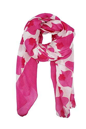 Agatha Ruiz de la Prada Pañuelos Fular Foulard Mujer Bufandas Estampado Diseño de besos 180 x 90cm Incluye llavero de regalo (Blanco con fucsia)
