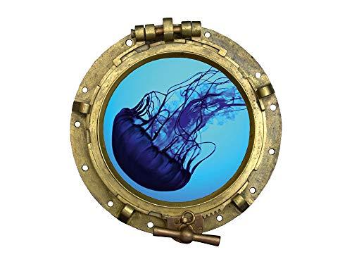 GRAZDesign Bullauge Wandtattoo Wandaufkleber Sticker Qualle für Badezimmer Bad WC - Fenster im Schiff- Dekoration / 32x30cm / 721012_30