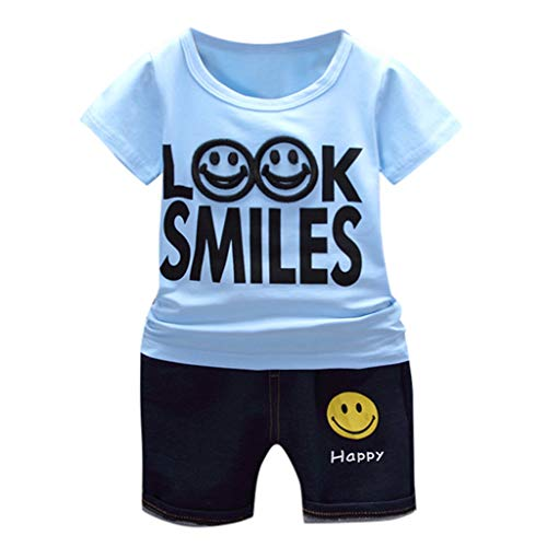 Poachers Poachers Kinder Baby Jungen MäDchen Feste Buchstaben Cartoon T Shirt Print Denim Shorts 2PC Sets Outfits