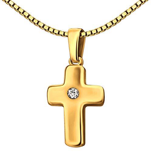 Clever sieradenset doopketting met klein meisje kruis 12 mm met zirkonia in het midden wit glanzend 333 GOUD 8 KARAAT met vergulde ketting pantser 38 cm