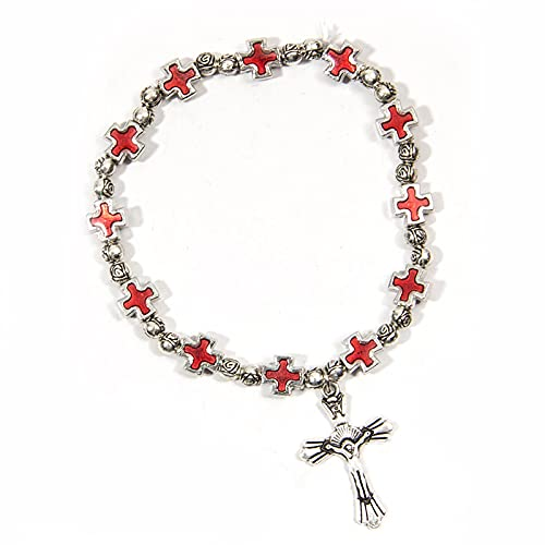 YITIANTIAN Pulseras de Cuentas de Metal con Cruz de Esmalte de Jesús religioso católico para Hombres y Mujeres, Colgante de Virgen María ortodoxa, joyería de oración