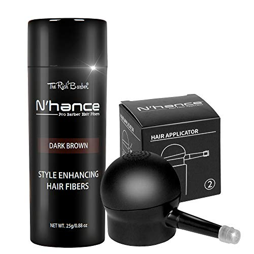 The Rich Barber N'Hance Hair Fibers & Applicator Set | Natural Concealing Hair Thickening Fibers | Long-Lasting Spray with Accessory For Crisp Hairlines, A Thicker Beard & Styling (Dark Brown)