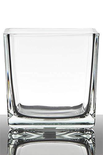 INNA-Glas Tiesto de Cristal Kim, Cubos/Cuadrado, Transparente, 14x14x14cm - Macetero - Maceta