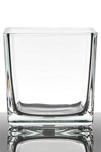 INNA-Glas Lot 2 x Pot de Fleurs Kim, Cube - carré, Transparent, 14x14x14cm - Verre à Bougie - Mini Cache-Pot