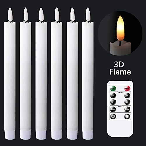 Eldnacele flammenlose weiße Spitzkerzen flackernd mit 10-Tasten-Fernbedienung, batteriebetriebene LEDs, warmer 3D-Docht, Fensterkerzen, echtes Wachs, 6 Stück,für Weihnachten, Zuhause