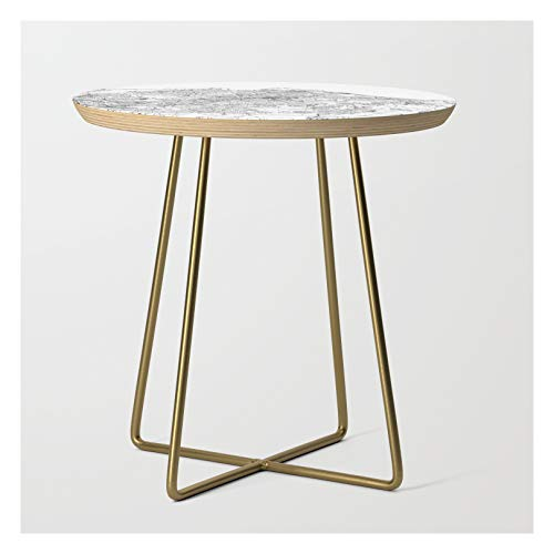 Edinburgh White Map by Multiplicity on Side Table - Gold - Round