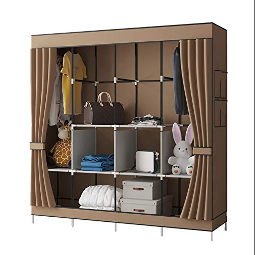 YAYI Canvas Wardrobe Portable Wardrobe Shelves Clothes Storage Organiser With 4 Hanging Rail,Brown