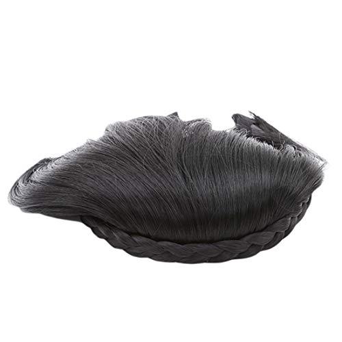 VWH Courte Tresse Blunt Bangs Naturel Rangée Hairpieces Perruque Synthétique Résistante à la Chaleur Styling Outils Accessoires (noir)