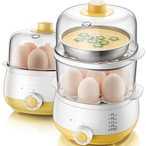 Elektrische eierkoker voor huishoudelijk gebruik, Eierkoker met tijdfunctie, Dubbellaagse capaciteit van 14 eieren, PTC-kookplaat met anti-droogfunctie, Met roestvrijstalen kom