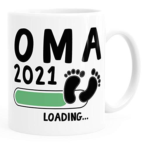 Kaffee-Tasse Oma 2019 loading Geschenk-Tasse für werdende Oma Schwangerschaft Geburt Baby MoonWorks® weiß unisize