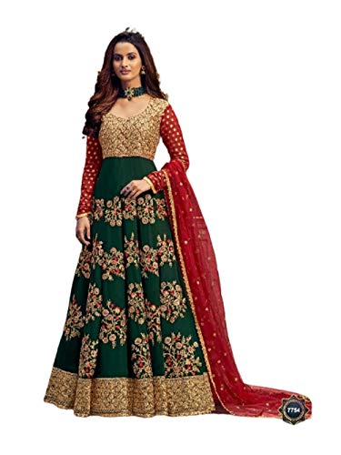 Anarkali Abaya Brautkleid 5805 mit indischem Motiv, Grün / Rot - - XXX-Large