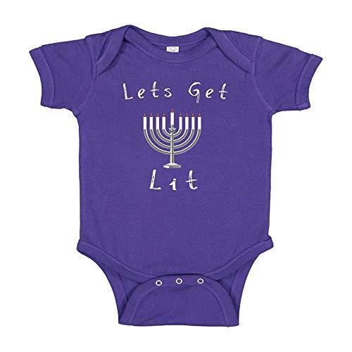 Ink Trendz Lets Get Lit Hanukkah Baby Body Suit Purple