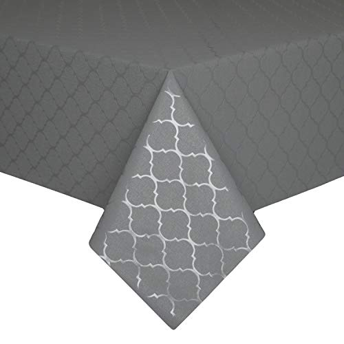Hosonson 100% Waterproof Moroccan Vinyl TableCloth- Oil-Proof Stain Resistant DecorationRectangle Tablecloth-WipablePVC TableCover for Kitchen, Indoorand Outdoor (54x78Inch, Grey)