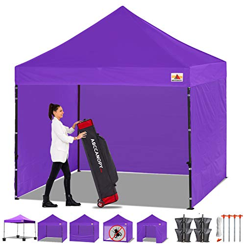 ABCCANOPY Canopy Tent Popup Canopy 10x10 Pop Up Canopies Commercial Tents Market stall with 6 Removable Sidewalls and Roller Bag Bonus 4 Weight Bags and 10ft Screen Netting and Half Wall, Petunia