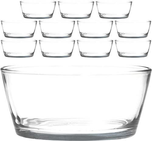 12 kleine Schälchen Ø 11cm aus Glas, z.B. als Dessertschälchen Salatschälchen Dipp Schalen