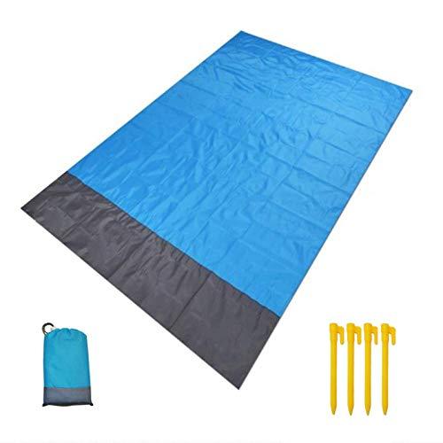 ZFYQ Alfombras de Playa, 140 x 200 cm Manta de Picnic Impermeable con 4 Estaca Fijo para la Playa Acampar Picnic y Otra Actividad al Aire Libre