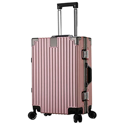 Luggage with Spinner Wheels, Silent Sturdy Durable Shockproof with TSA Lock Spinner Lightweight Suitcase for Adults Tourism Student Vacation-35x23x48cm-Rose Gold