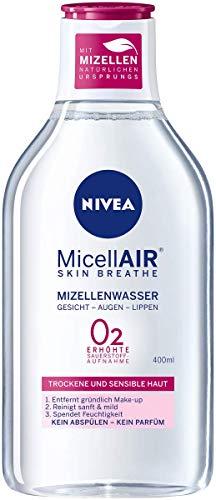 NIVEA MicellAIR Skin Breathe Mizellenwasser für trockene Haut, All-in-1 Make-up Entferner für erhöhte Sauerstoffaufnahme, Mizellen Reinigungswasser für 0 % Produktrückstände, im 1er Pack (1 x 400 ml)