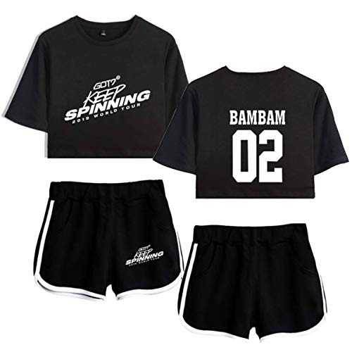 GOT7 Keep Spinning Set de Dos Piezas de Mujer Crop Top + Shorts Chándales Tops y Shorts ShreetwearJackson JB Bambam Mark