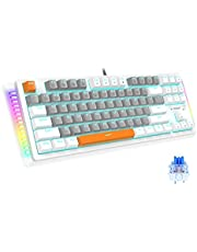 Mechanical Gaming Keyboard, E-YOOSO Blue Backlit & RGB LED Sidelight Wired Gaming Keyboard, Three-Color Keycaps Gaming Keyboard with Red/Brown/Blue Switches for Windows Mac PC Gaming (87 Keys)