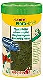 sera Flora Nature das natürliche Fischfutter pflanzlich ohne Farb- & Konservierungsstoffe, Flockenfutter für Guppy, Platy, Schwertträger, Molly und Malawi oder Doktorfische im Aquarium