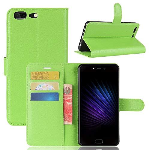 Sangrl Leder Lederhülle Schutzhülle Für Leagoo T5, Wallet Tasche Für Leagoo T5, mit Halterungsfunktion Kartenfächer Flip Hülle Grün