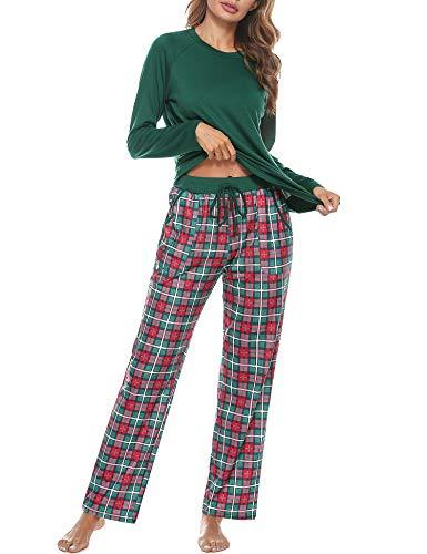 Aibrou Conjuntos de Pijama, Mujer Pijama Conjunto Camiseta y Pantalones Plaid Pijama Largo Mujer Elegante Manga Pantalon Largos Suave Pijama Mujer 2 Piezas Invierno Estilo 1: Verde XXL