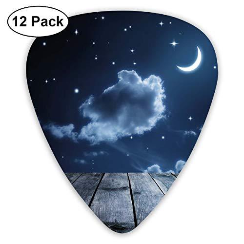 Gitaar Picks12pcs Plectrum (0.46mm-0.96mm), Vivid Night Sky met sterren wolken en halve maan houten planken hemel,Voor uw gitaar of Ukulele