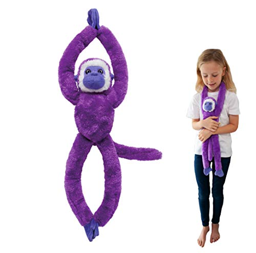 EcoBuddiez Tree Huggers, Purple Squirrel Monkey Hanging Soft Toy (72cm) - Soft and Cuddly Plush Toy from Deluxebase. Made from Recycled Plastic Bottles. Perfect Cuddly Gift for Kids.
