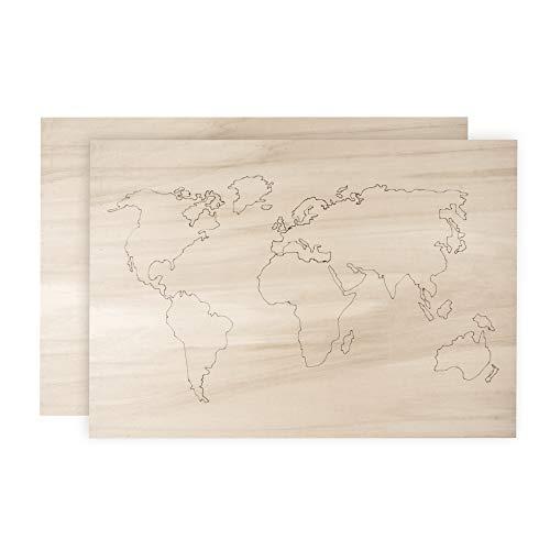 Rayher 62810000 Holz-Weltkarte, FSC 100%, 42 x 29,7 x 0,4cm, gelasert