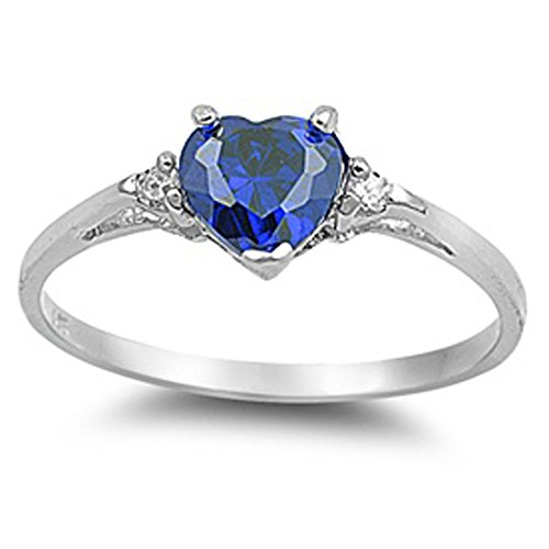Oxford Diamond Co Blue Simulated Sapphire Heart & White Cubic Zirconia Ring Size5