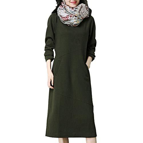 Quaan Quaste Vintage Kleid Damen Retro Rockabilly Kleid Kariert Langes Partykleid Casual Langarm Maxikleid Herbst Sweater Strickkleid Warm Elegant...