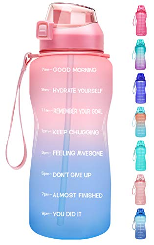 Fidus Large Half Gallon/64oz Motivational Water Bottle with Time Marker & Straw,Leakproof Tritan BPA Free Water Jug,Ensure You Drink Enough Water Daily for Fitness-Pink/Blue Gradient