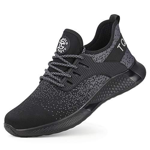 tqgold Zapatos de Seguridad Zapatos de Trabajo S3 para Hombres y Mujeres, Zapatillas con Punta de Acero, Zapatos Protectores Ligeros y Transpirables, Zapatillas de Deporte (Negro, 45)