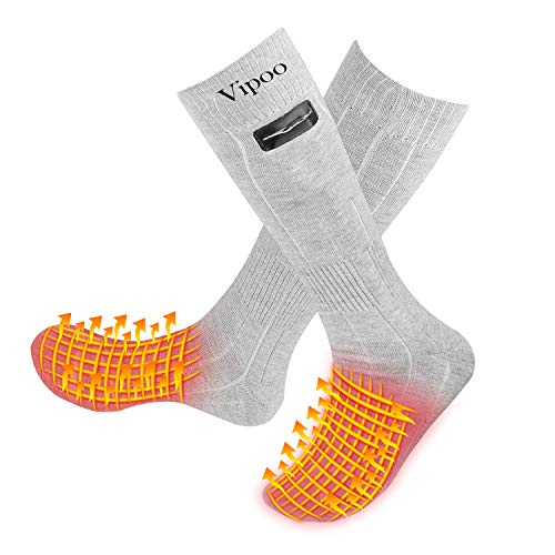 Vipoo Heated Socks, Winter Electric Rechargeable 3 Heating Settings Thermal Socks, Winter Skiing Camping Hiking Warm Cotton Socks for Men and Women - Gray