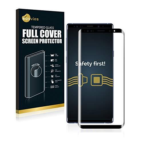 Savvies Full Cover kompatibel mit Samsung Galaxy Note 9 Panzerglas Full Screen Schutzfolie - vollständige Abdeckung, 3D Curved, 9H Härte, Schwarz