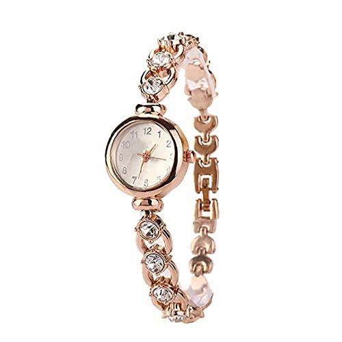 Eaarliyam Mujeres Reloj analógico de Cuarzo Relojes de Pulsera Movimiento con aleación Brazalete espumoso Cristal de Relojes de Acentos con el botón de la batería (de Oro Rosa)