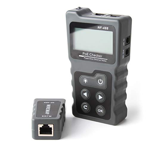 NF-488 Herramientas de red Cable Tester PoE inspector del probador a través de Ethernet Cat5 Cat6 Lan probador de red PoE interruptor de prueba Cable Tester