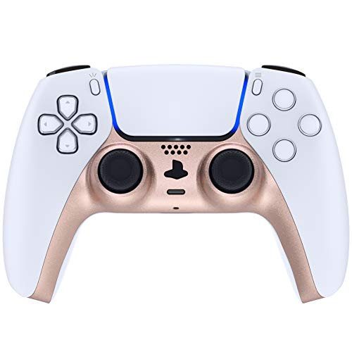 eXtremeRate Metallic Rose Gold Decorative Trim Shell for PS5 Controller, DIY Replacement Clip Shell, Custom Plates Cover for Playstation 5 Controller w/Accent Rings - Controller NOT Included