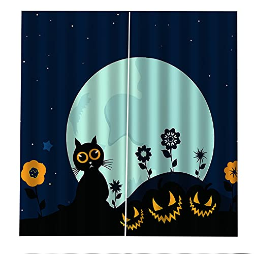 FACWAWF Decoración De Halloween Cortina Lámpara De Calabaza Sala De Estar 3D Dormitorio Balcón Decoración Cortina Habitación De Los Niños Insonorización Cortina Opaca Anti-UV 2xW110xH215cm