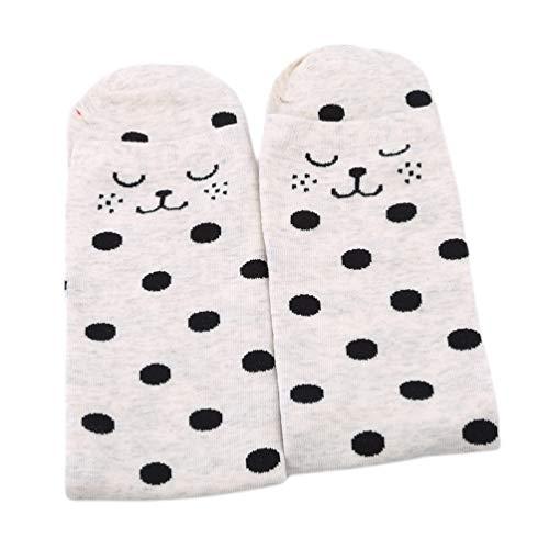 LWANFEI Mid Strümpfe Gestreifte Polka Dot Hohe Strümpfe Socken Casual Socken Geschenke Kleidung Dekoration für Frauen, Beige