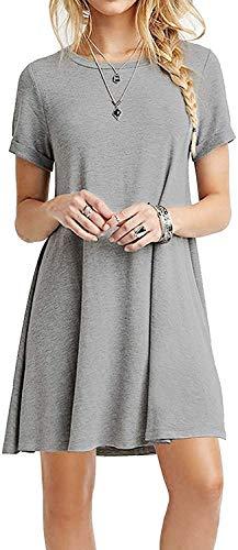 YOUCHAN - Vestido de verano para mujer, de manga corta, informal, largo gris XS