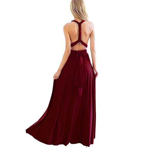 Women's Transformer Convertible Multi Way Wrap Long Prom Maxi Dress V-Neck Hight Low Wedding Bridesmaid Evening Party Grecian Dresses Boho Backless Halter Formal Cocktail Dance Gown Burgundy X-Large