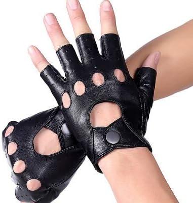 Mens Genuine Leather Gloves Half Finger Leather Sheepskin Mitten for Male Summer Style Unlined Fingerless Gloves - (Color: Black, Gloves Size: L Suit Palm 21.5cm)