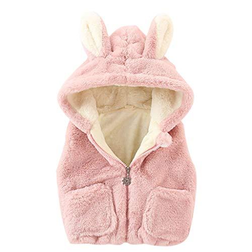 YWLINK NiñOs PequeñOs BebéS NiñAs Cremallera De Oreja De Conejo con Capucha Chaleco Grueso Y CáLido Abrigo Outwear Lindo Chaleco Abrigo CáLido Al Aire Libre(Rosado,30-40 meses/100)