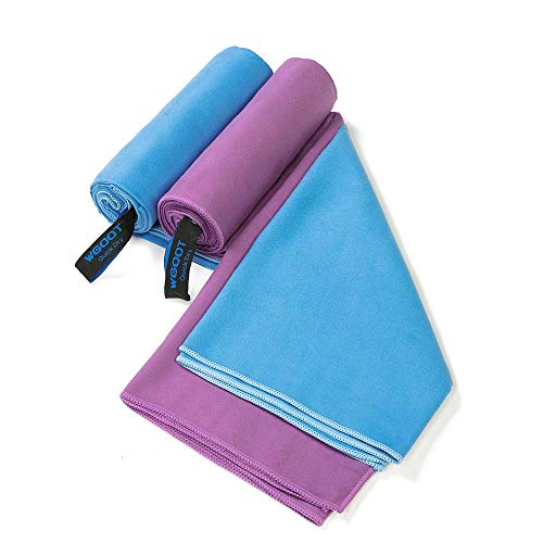 WGOOT Quick Dry Microfiber Towel,Super Absorbent,Lightweight &Ultra Compact,Suitable for Swimming,Yoga,Camping,Beach,Gym,Sport,...