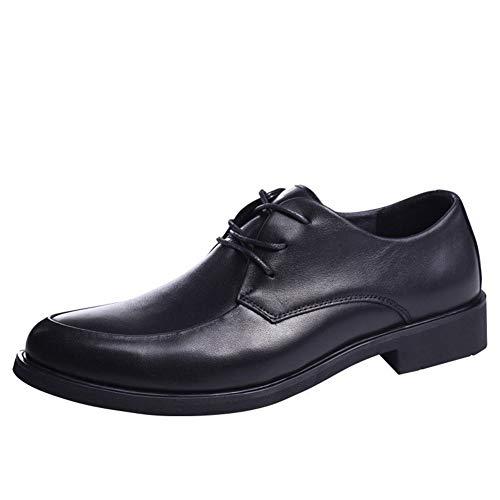 CAIFENG Zapatos de vestir clásicos Oxford de moda para hombres de ocio con cordones de cuero genuino con puntera redonda y tacón plano resistente al desgaste (color: negro, talla: 40 EU)